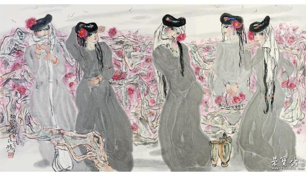 民族姑娘儿童画范画