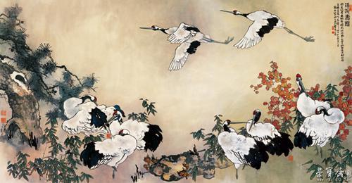 瑶池寿鹤 作者:黎明 创作年代:2006 规格:137×310cm