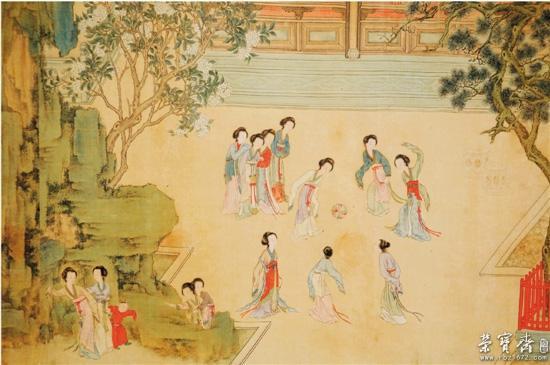 古代女子戴面纱手绘