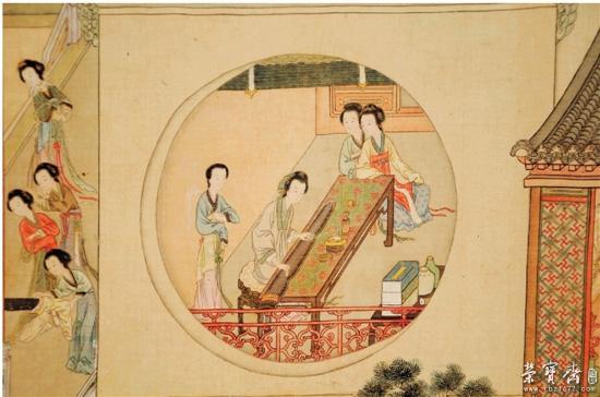 古代面纱美女手绘