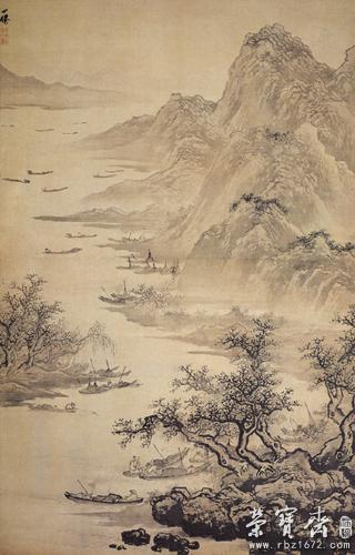 景作山野悬岩,树木凋零