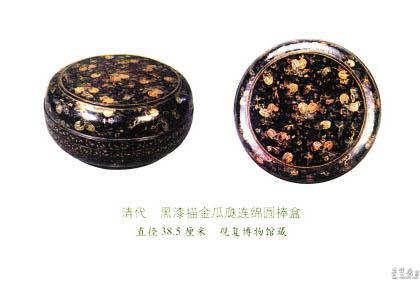 黑漆描金瓜瓞连绵圆捧盒 直径38.5厘米 观复博物馆藏
