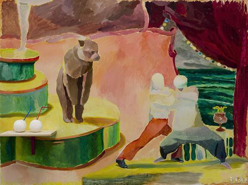 仇晓飞 《比武》 2012 木板油画及综合材料 150×200cm