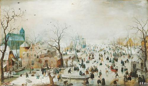 17世纪荷兰风景画画家亨利克·阿维坎普所作的《冬景冰趣》