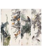 《四条屏:雨霁闲立》、《赤日清音》、《绿荫清幽 》、《晚秋霜影》180x48.5cm 2001年
