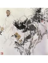 《仲秋賞菊圖》68×67.5cm 1987年