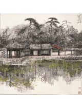 《碧翠浓春谐趣图》145×145cm 2003年