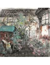 《幽居唐馬焦花小院》68×68cm 2000年