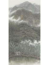 《云在山林魚在塘》136cmX68cm 國畫 2015年