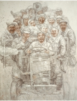 《父老乡亲》230cmX200cm 国画 2004年 获第十届全国美展铜奖