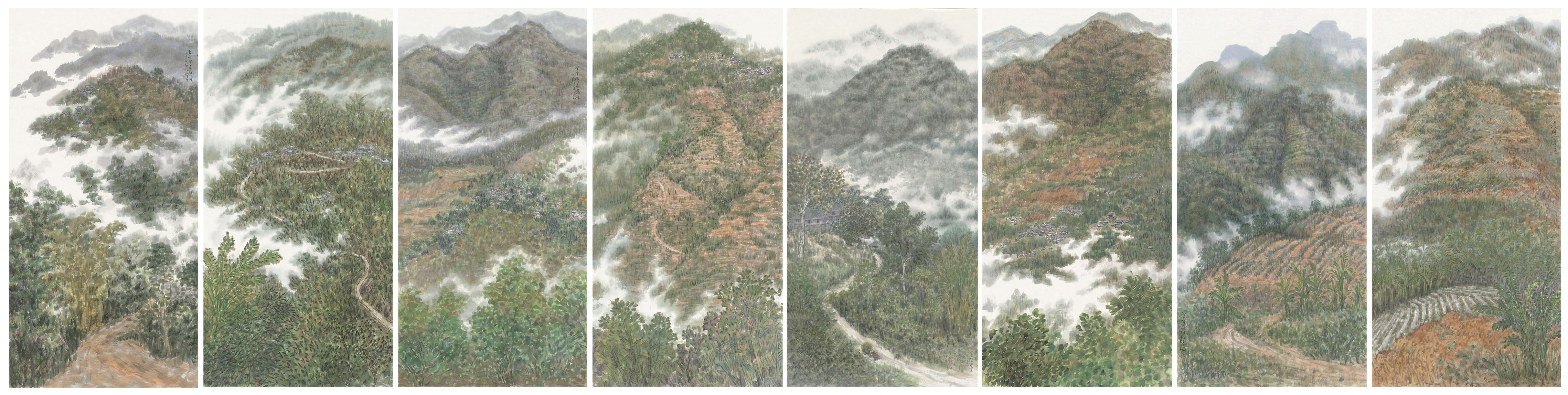《版纳山水八条屏》136cmX68cmX8 国画 2015年