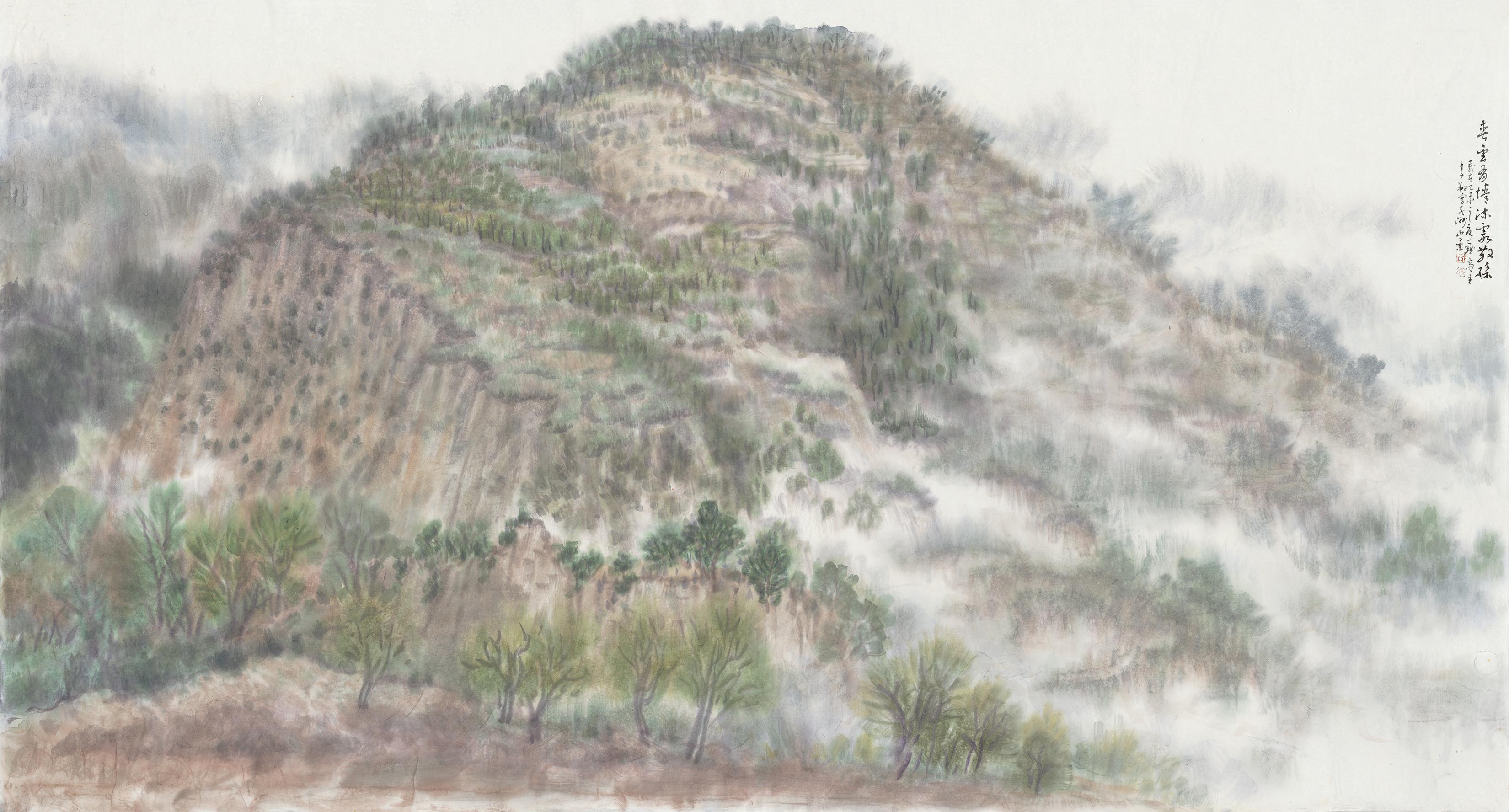 《春云有情 流霞散彩》90cmX180cm 国画 2015年