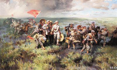 张文源1977年创作的油画《红军过草地》