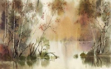 彩铅笔手绘中国风景画