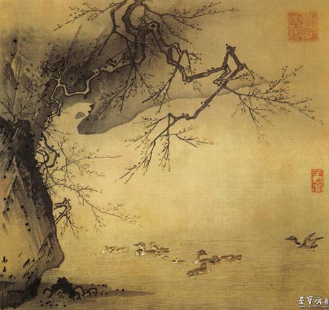 马远 《梅石溪凫图》 两宋时墨笔花鸟画的出现,在一定时代背景和思想基础上,不可否认地宣染了隐逸情绪。文同、苏轼、郑思肖、扬无咎等倡导文人士大夫的趣味,以墨笔写竹梅花卉,与当时画院中的工丽、富艳派一起,在现实主义的花鸟画创作中起到交织发展作用。 宋代写意花鸟画的繁荣兴盛,主要是由兼工带写的创作方法发展下来,最终形成后来的文人画派。宋代花鸟画的写生和写意虽然分途,但从未脱离现实主义的创作传统。工、写是表现技法上的不同,而不是本质精神上的不同。 元代的花鸟画,继五代、两宋以后又有新发展。赵孟頫、陈琳、张守中的