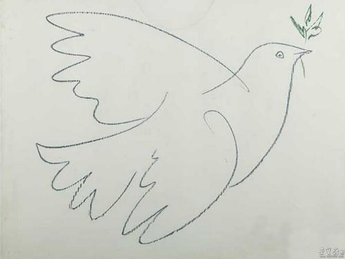 """当即挥笔画了一只飞翔的鸽子,栩栩如生,那就是""""和平鸽""""的雏形."""