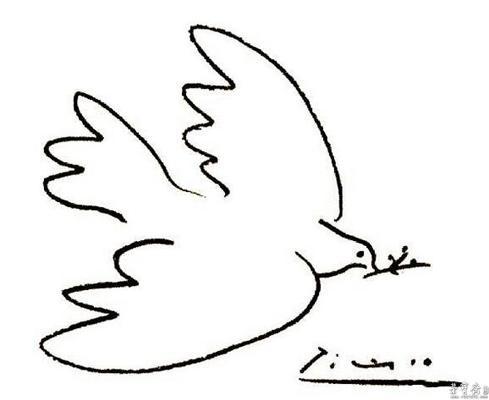 和平鸽,橄榄枝,天安门_乐乐简笔画