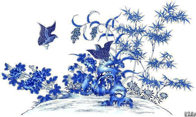 陶瓷青花装饰中独特的花鸟题材