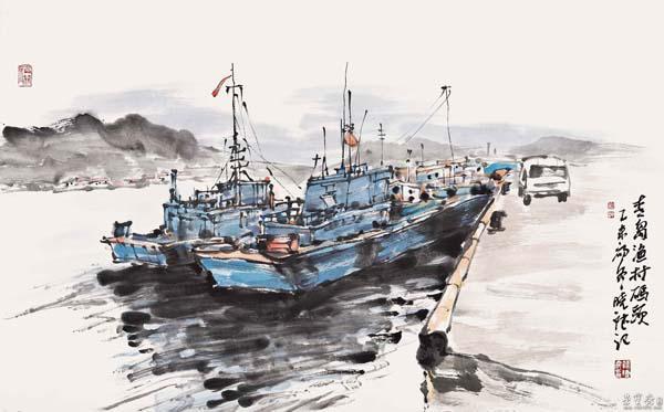 《青岛渔村码头》 70×46.4cm 2015年
