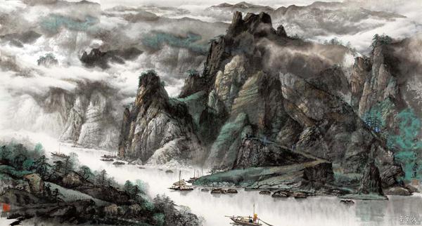 峡山放舟 180×75cm (中国美术馆藏)